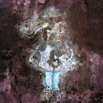 Brazil, Cachoeira, Salvador da Bahia. A faded mural of Oxissa - the god (orixa) of the hunters in the Candomble religion.