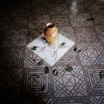 Brazil, Cachoeira, Salvador da Bahia. The five basic elements; water, fire, earth, wind and peace are written on the floor of a Candomble Terreiro (Temple).