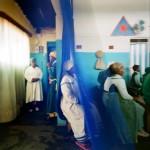 Mozambique, Maputo. Adherents of the Zion church Igreja Apostolica Betel during a service.