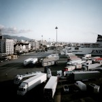 Greece, Patras. Trucks parked on the quay are checked for hiding refugees before they go on board the ship.