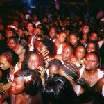 Angola, Luanda. A crowd consisting almost exclusively of young women pack the Luanda club Esplanada 10 for a Saturday night Kuduru/Kuduro performance.