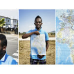 A triptych of Kasim, 25, from Somalia holding a map showing the route he travelled from Mogadishu to Sicily. His journey from Mogadishu took six months. He left to avoid being conscripted into the ranks of al Shabab. He travelled through Kenya, Sudan and Libya where he boarded a boat with 59 people. They were at sea for two days before they were rescued. He has been waiting for his asylum application to be approved for three years but says he's