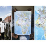 A triptych of Maria and Joel (not their real names), both 19, from Mali, holding a map showing their route from West Africa to Sicily. Maria fled when she was 17 to avoid being subjected to female genital mutilation. She first fled with her father and then Joel followed. Her father was killed in prison in Libya and she was rape. During their crossing they were robbed by pirates who took all their belongings and their mobile phones. Five people in the group died. After 14 hours they were rescued. Joel says: 'I [felt I] had landed in a country with human rights. No one could arrest me, force me to work, or beat me.' The couple want to stay in Italy as it is the first place that welcomed them. 'We have peace now. The most important thing is to have peace.'