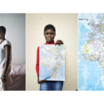 A triptych of Tessy Ogaga, 19, from Nigeria holding a map showing the route she travelled from Benin City to Sicily. She arrived in Italy with severe burns on her legs caused by a mixture of fuel and salt water that she was covered in during the journey. Six people died during the crossing on her boat. It took two attempts for her to make it to Europe. The first time her boat was intercepted by the Libyan coastguard and had to turn back. Her journey from Nigeria to Italy took five months. If her asylum case is accepted she hopes to study banking.