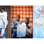 A triptych of Yusuf Oyalechuah, 24, and his friend Monday Payos, 36, who are both from Nigeria, holding a map showing the route they took to reach Sicily. Monday is unable to walk due to a congenital condition. Their journey from Nigeria to Italy took 4 months. During the journey Yusuf looked out for Monday and if they had to walk he would carry his friend. The crossing from Libya to Sicily was the hardest part of the journey. Yusuf says of the five hours they were at sea: