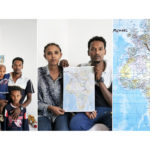 A triptych of Michael Estifannos, 28, with his wife Dahab (27) and three children, Benhur (8), Benmet (6) and Lamek (21 months). The couple, from Eritera, hold a map with the route they travelled from Sudan to Italy marked on it and the route they hope to take to Switzerland, their desired destination. They drove for 12 days from Sudan, where they had been living after fleeing Eritrea in 2009, to Libya in a car packed with 35 people, three of whom died on the journey. The family fled Eritrea to escape mandatory national service, sometimes for life, which is used by the government to squash decent. They spent six and a half hours at sea before being picked up by an Italian ship.