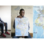A triptych of Ahmed Beshir, 26, from Sudan sits on his bed at the CARA migrant's shelter holding a map showing the route he took from Sudan to Sicily and the route to the UK, the destination he dreams of moving to.<br>